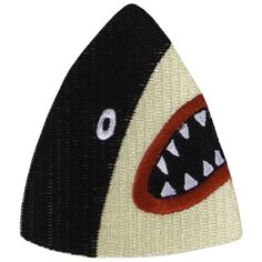 "Embroidered black and cream shark patch with heat seal/iron on backing 2.5"" inches wide Comes on a free postcard! :-) Designed by Lorien Stern"