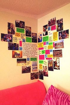 DIY Wall Art Ideas -Heart Shaped Memory Corner is Perfect for Teen Girl Room Dec. DIY Wall Art Ideas -Heart Shaped Memory Corner is Perfect for Teen Girl Room Decor Cute Diy Room Decor, Decoration Bedroom, Decor Room, Soccer Room Decor, Diy Dorm Decor, Diy Wall Decor For Bedroom, Memory Wand, Crafts For Teens, Diy And Crafts