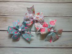 You Choose 3 Inch Hair Bows Vintage Floral by HaleybugBowCreations
