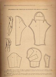 explicación y demostración del corte de las mangas con piezas y frunces