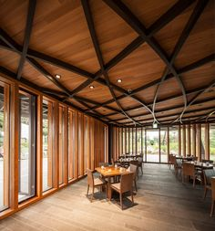 An Expressive Gesture: Taekwang Country Club Café by mecanoo - DETAIL - Magazine of Architecture + Construction Details Timber Architecture, Architecture Details, Cafe Pictures, Club Design, Floor To Ceiling Windows, Timber Ceiling, Beautiful Buildings, Country, Home