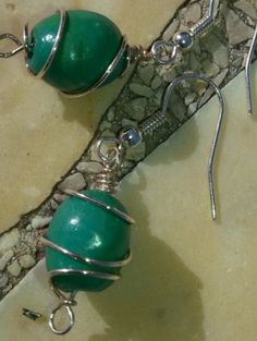 Turquase clay bead wire wrapped earings by BDreamHandmade on Etsy