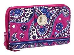 VERA BRADLEY Boysenberry Turn Lock Wallet $38.99 SHIPPED FREE~~~ALSO FREE LOCAL DELIVERY NOW AVAILABLE WITHIN 10 MILES OF SANTA MONICA, CALIFORNIA ZIP CODE 90404~~~