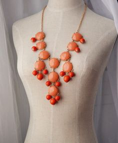 Orange Bubble necklace J Crew Inspired Statement by Payless4fab, $16.99