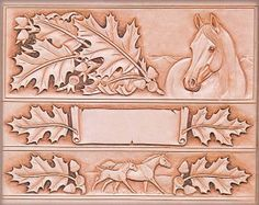 Leaves & Horse Belt & Billfold Craftaid® - Reusable templates are the easiest way to transfer tooling patterns to leather project. Tandy Leather, Leather Art, Leather Design, Leather Belts, Leather Tooling, Saddle Leather, Tooled Leather, Leather Craft Tools, Leather Projects