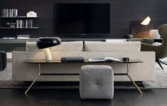 Mondrian console, Mondrian sofa and Mondrian coffee table. Mad Joker armchair and Play pouf.