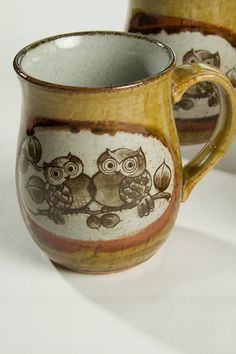 Hand Crafted Owl Mugs Set of 4