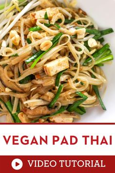 The video recipe that will walk you to learn how to make this famous Thai food at home. This vegan version keeps all the authentic flavors of Pad Thai: sweet, salt, sour, with crunchy peanuts. It's also a gluten free recipe. Enjoy learning how to make this Thai street food recipe at the comfort of your own kitchen! |how to make Pad Thai |how to cook Thai food at home |how to make spicy Thai food Dinner Party Recipes, Vegetarian Recipes Dinner, Vegan Breakfast Recipes, Asian Noodle Recipes, Thai Recipes, Asian Recipes, Yummy Pasta Recipes, Delicious Vegan Recipes, Authentic Thai Food