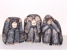 Wise Monkey Trio The Three Evils PAINTED ROCK SET