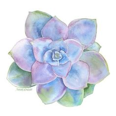 Blue Succulent Watercolor ❤ liked on Polyvore featuring home, home decor, blue home decor and blue home accessories