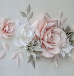 Paper Wall Flowers – Paper Blooms Wall Decor – Nursery Wall Decals Paper Flowers – Blush and Grey Paper Flowers (code: – 2019 - Paper ideas Paper Flower Wall, Giant Paper Flowers, Flower Wall Decor, Diy Flowers, Paper Wall Decor, Blush Nursery, Flower Nursery, Mason Jar Crafts, Mason Jar Diy