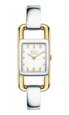 "ESQ by Movado ""Angle"" ladies watch. Stainless Steel  & Gold Plate Quartz Movement at DarcysFineJewelers.com $350"