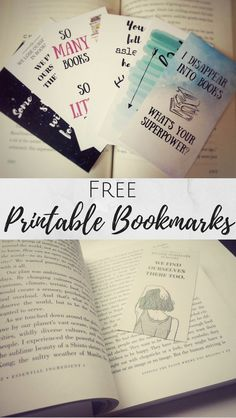 Free Printable Bookmarks I have an obsession with books! I love how a book can…