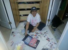 Mom assembling communication book