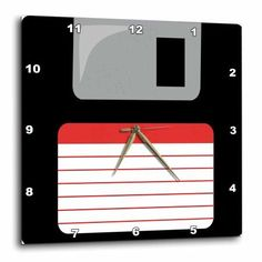 3dRose Retro 90s computer black floppy disk graphic design with red label - 1990s - ninties computer tech, Wall Clock, 15 by 15-inch
