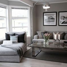 light grey living room with dark frames
