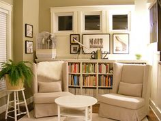 "ikea hack Billy bookcases into ""built-in"" look. Great site."