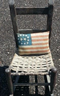 Primitive Antique Early Old American Flag Pillow Patriotic cupboard tuck #NaivePrimitive