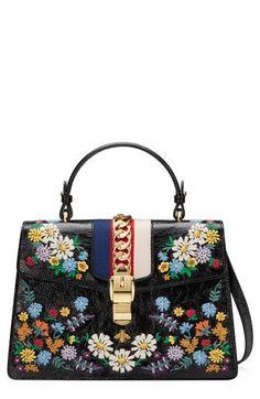 00437998515f97 online shopping for GUCCI Medium Sylvie Floral Embroidered Top Handle  Leather Shoulder Bag from top store. See new offer for GUCCI Medium Sylvie  Floral ...