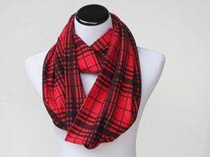 Plaid Scarf Red Black scarf Glasgow Plaid infinity scarf