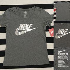 NWT Nike women's grey tshirt sz M ⚽️⚽️⚽️ NWT Nike women's grey tshirt sz M ⚽️⚽️⚽️New with tags, perfect condition, color is grey with a silver Nike swoosh screen print on chest, material has a very soft feel and is 100% cotton, seems to run fitted- so may fit Small⚽️ See other Nike and athletic listings in my closet⚽️ Nike Tops Tees - Short Sleeve