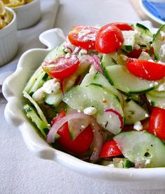Recipe for Cucumber Tomato and Feta Salad - I've made this a couple of times, but this time I added feta cheese - let me tell you - it did the trick.