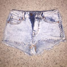 Kendall & Kylie High Rise Jean Shorts Super cute Kendall & Kylie brand high rise jean shorts. Frayed edges with braided detail on sides. Kendall & Kylie Shorts Jean Shorts