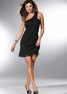 Black (BK) One Shoulder Dress