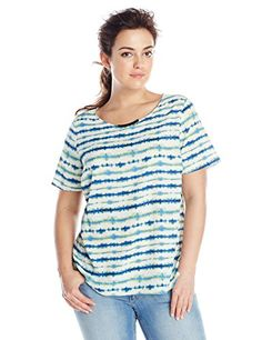 Awesome DKNYC Women's Plus-size Hi-Low Short Sleeved Top with Metal Neck Trim