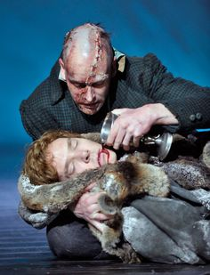 Benedict Cumberbatch and Johnny Lee Miller ( BBC and CBS Sherlocks) as Dr Frankenstein and the creature respectively, in Danny Boyle's Frankenstein play. They alternated playing the two roles on a nightly basis