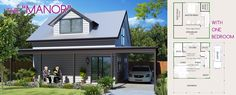 The Manor - Lifestyle Granny Flats. Enjoy loft living in the suburbs with this stylish design. Backyard Studio, Granny Flat, Flat Ideas, Cabins And Cottages, Small House Plans, Pool Houses, Studio Apartment, One Bedroom, Flat Design