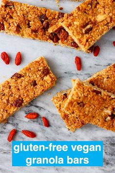These Vegan Granola Bars are chewy, nutty and perfectly satisfying. They're great for breakfast, dessert or a snack! Gluten-free, dairy-free, oil-free and refined sugar free. Vegan Baking Recipes, Vegetarian Recipes Easy, Delicious Vegan Recipes, Whole Food Recipes, Snack Recipes, Free Recipes, Healthy Vegan Snacks, Gluten Free Snacks, Vegan Gluten Free