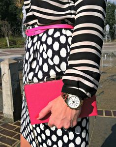 Pink Champagne: Stripes & Dots. Mixing prints in pink and ink. #fashionblogger #streetstyle