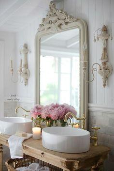 Elegant French cottage bathroom renovation peek & why I am in love already