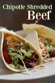 Super easy Crockpot Chipotle Shredded Beef Recipe is so easy to make. The slow cooker crock pot does all the work! Perfect for tacos, burritos, great dinners, burrito bows, and more!