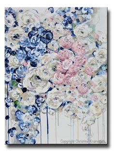 """Everything's Coming Up Roses"" Original Art Painting Navy Blue White Pink Flowers Abstract Floral Painting Contemporary Flowers Fine Art  Modern Textured Palette Knife Painting. Stunning coastal abstract soft light blue, navy blue, grey, taupe, blush pink and white flowers with a modern palette, possessing an elegant, casual sophistication - perfect to enhance any decor, farmhouse, contemporary, coastal cottage room design. Abundantly blossoming roses and peony flowers seem to overflow off…"