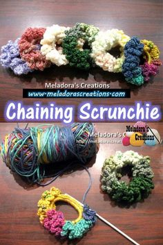 This Free Crochet pattern teaches how to make a scrunchy using the most basic stitches. All you need is scrap yarn and a rubber band.