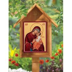 Outdoor (Garden) Cypress Shrine with Sweet Kissing Outdoor Icon. I want to build one of these for my husband's bee hives. He has an icon for them of St. Harlambos, the patron saint of beekeepers.