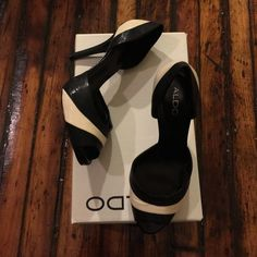 ALDO black and ivory leather heels Buttery soft peep toe leather heels- well maintained with box! ALDO Shoes Heels