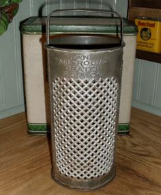 Large c. 1900 Tin Cylinder Grater - All Round - S. S. CO. - $47.00