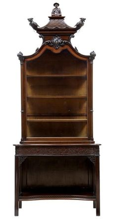 EDWARDIAN MAHOGANY CARVED CHINESE CHIPPENDALE STYLE DISPLAY CABINET #chippendale #Cabinets