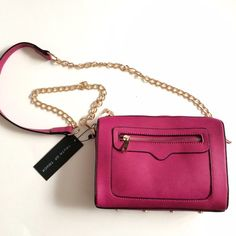 """*SALE!* Fuchsia/burgundy crossbody bag! Very pretty bag, easy to wear and help you look fabulous and make a statement with that pretty color and the gold!  The brand is Truth of Touch.  About 9.5"""" by 7"""" by 2.5"""".  Color says Burgundy on product tag, but looks more like a fuchsia to me... or kind of like somewhere in between the two!  Very pretty! Truth of Touch Bags Crossbody Bags"""