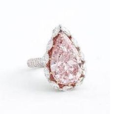 10.94-Carat Pear-Shaped Fancy Light Pink Diamond And Diamond Ring
