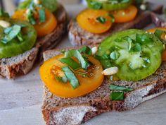 Rye and heirloom tomato bruschetta