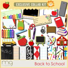 Mega School pack with printables, papers and cliparts from MyGrafico