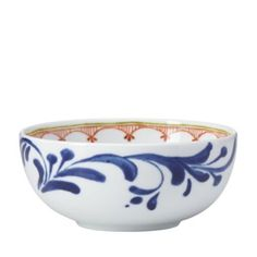 Decorated with a lavish indigo border and geometric motif in a contrasting amber hue, this exclusive-to-Bloomingdale's fruit bowl by Dansk combines traditional style with a touch of modernity. Pottery Painting, Ceramic Painting, Tile Painting, Slab Pottery, Ceramic Pottery, Ceramic Fruit Bowl, Dessert Aux Fruits, Blue Bowl, White Bowl