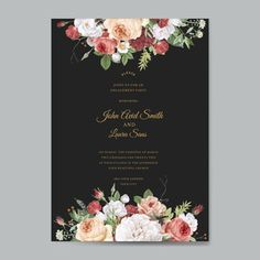 Wedding Logos, Modern Wedding Invitations, Wedding Sets, Wedding Invitation Card Template, Floral Invitation, Pink Flower Bouquet, Picture Logo, Flower Decorations, Floral Watercolor