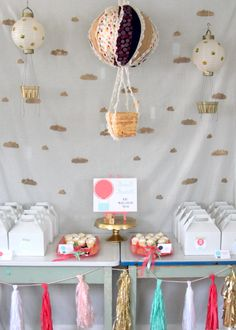 """""""(child) is growing up, up, up!"""": hot air balloon birthday party...I spy awesome GOLD painted berry boxes for DIY gold polka dot paper lantern hot air balloons!"""