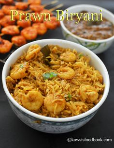 Prawn Biryani Recipe Spicy Prawn Biryani - Learn how to make spicy prawn biryani with step by step pictures Prawn Biryani Recipes, Prawn Recipes, Veg Recipes, Spicy Recipes, Lunch Recipes, Indian Food Recipes, Cooking Recipes, Healthy Recipes, Ethnic Recipes