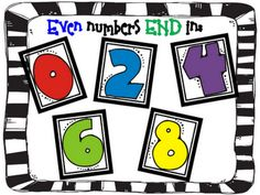 Love this for odd and even numbers... there's even a little poem to go with it. Love this blog in general for teacher ideas!